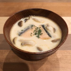 SOY MILK & SALMON miso soup recipe