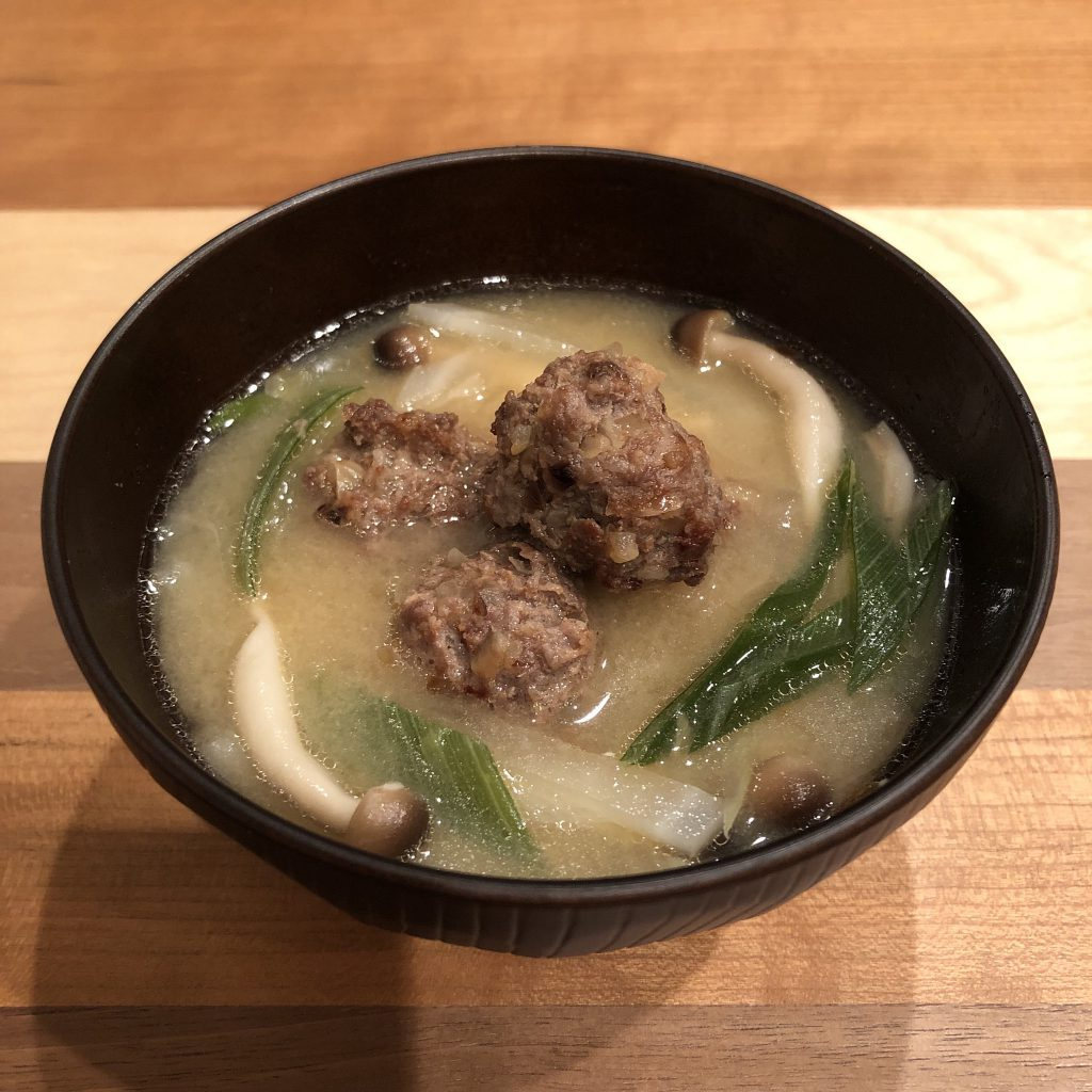 DEEP-FRIED MEATBALLS miso soup