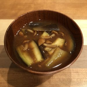 Nameko Mushrooms & Eggplant Miso Soup Recipe