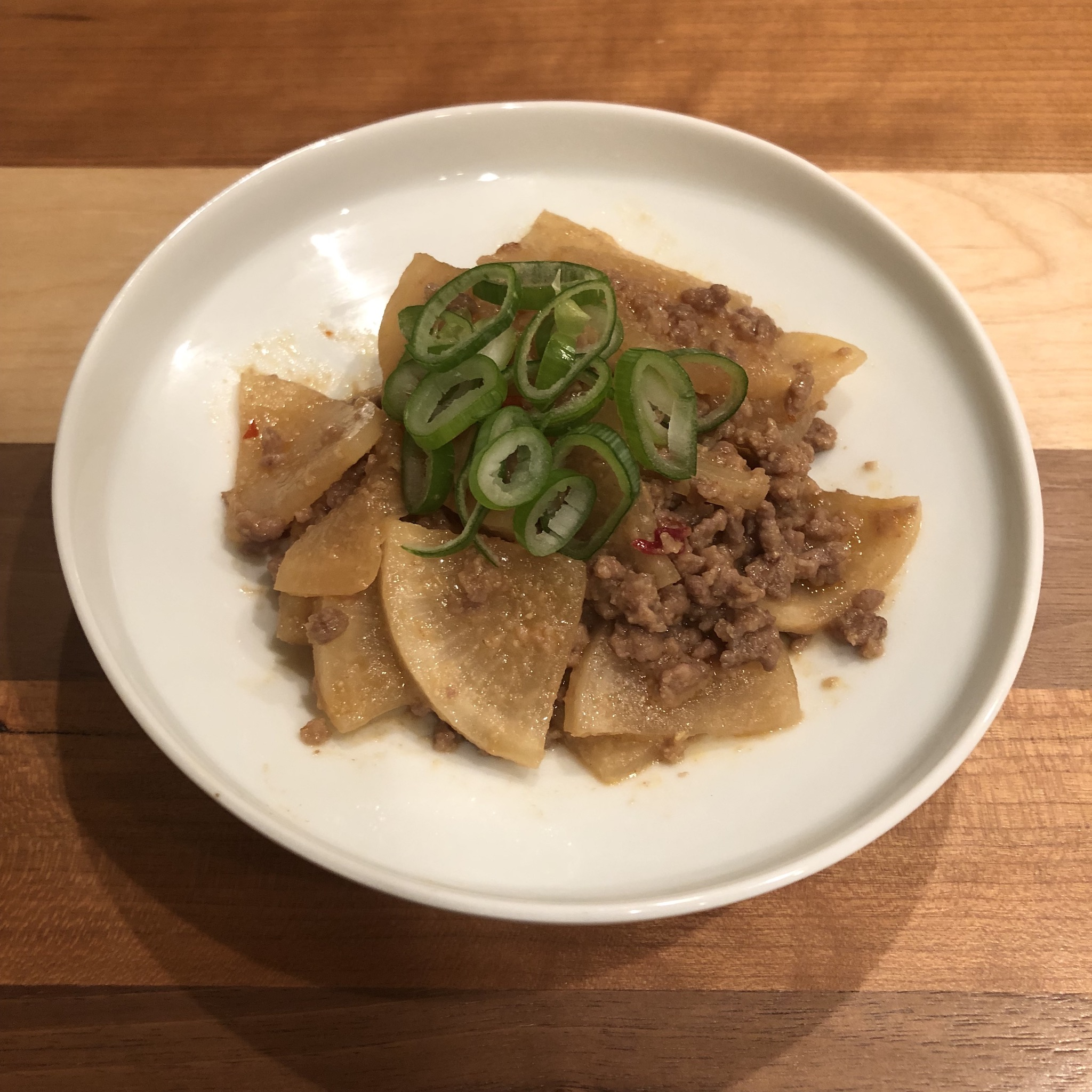 SPICY GROUND MEAT & DAIKON STIR-FRY