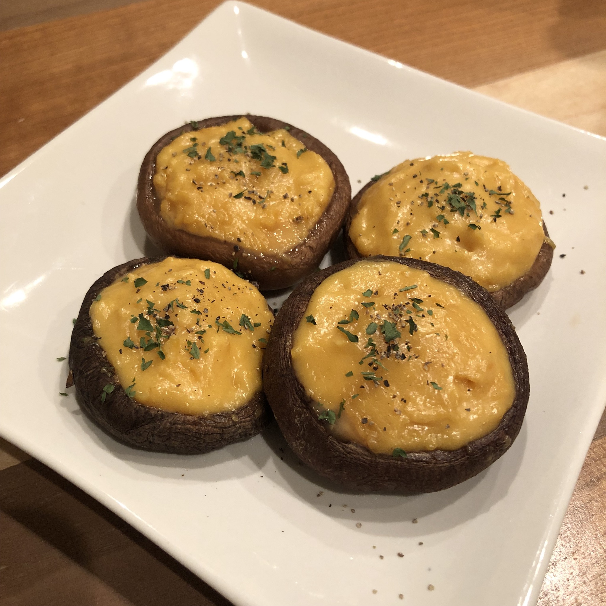 GRILLED SHIITAKE MUSHROOMS WITH MISO & CHEESE