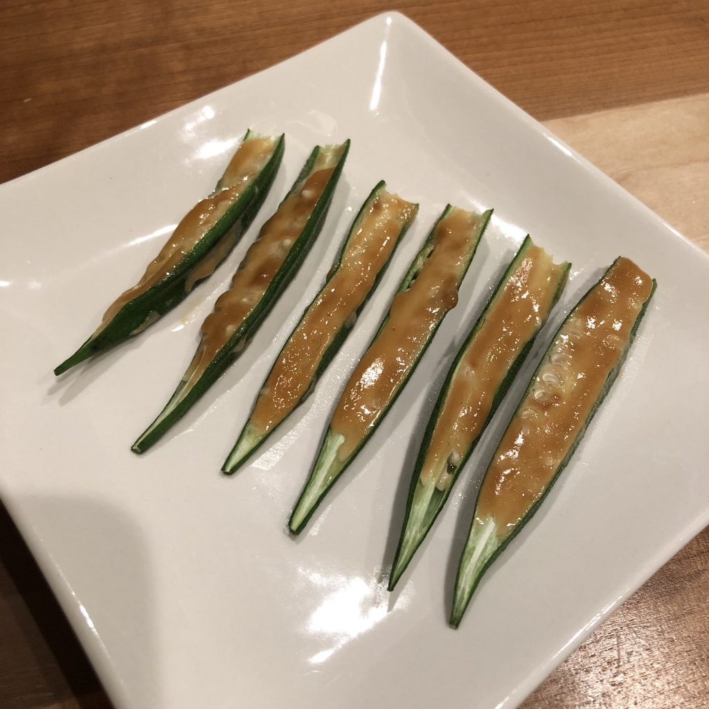 ROASTED OKRA WITH MISO MAYONNAISE