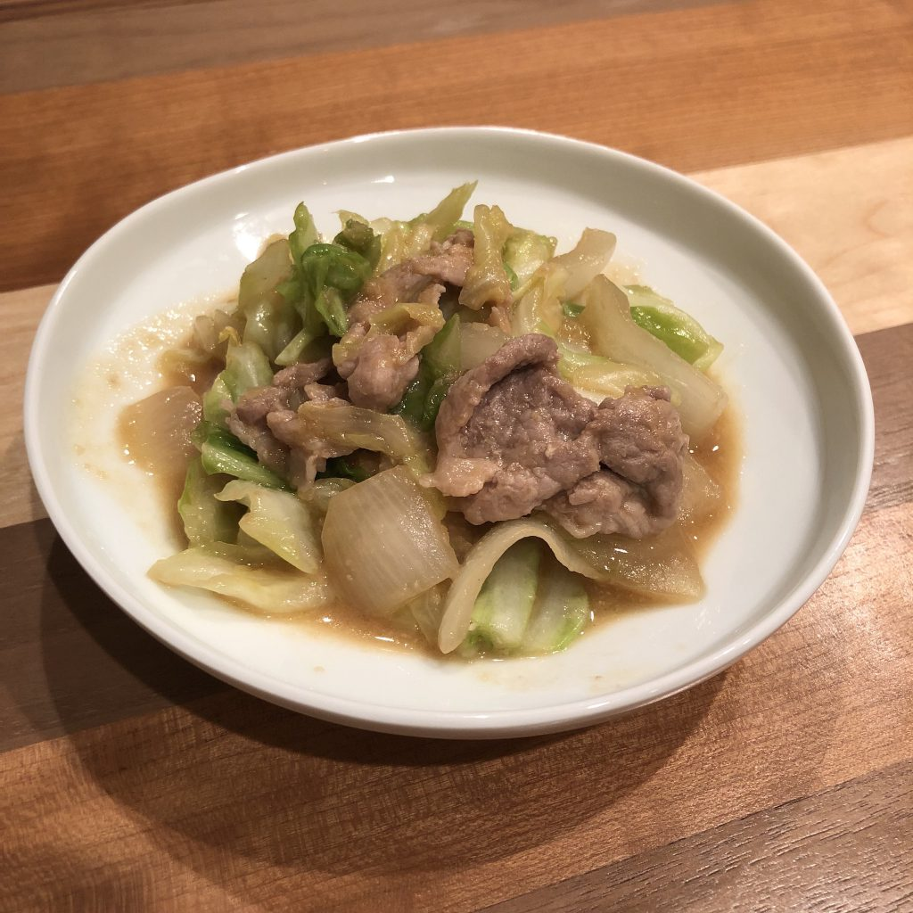 PORK & CABBAGE STIR-FRY WITH GINGER MISO SAUCE