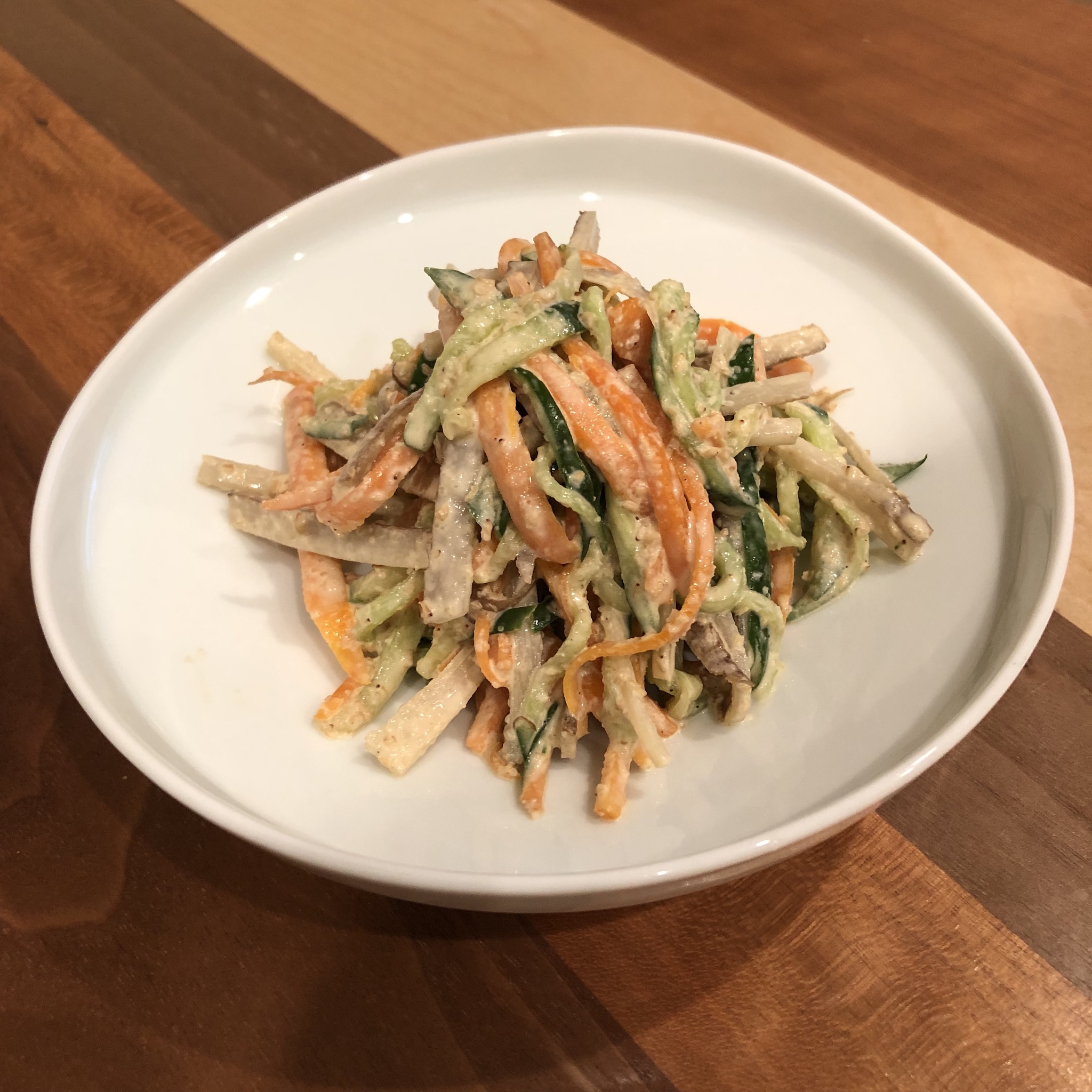 BURDOCK SALAD WITH SESAME MISO-MAYONNAISE DRESSING